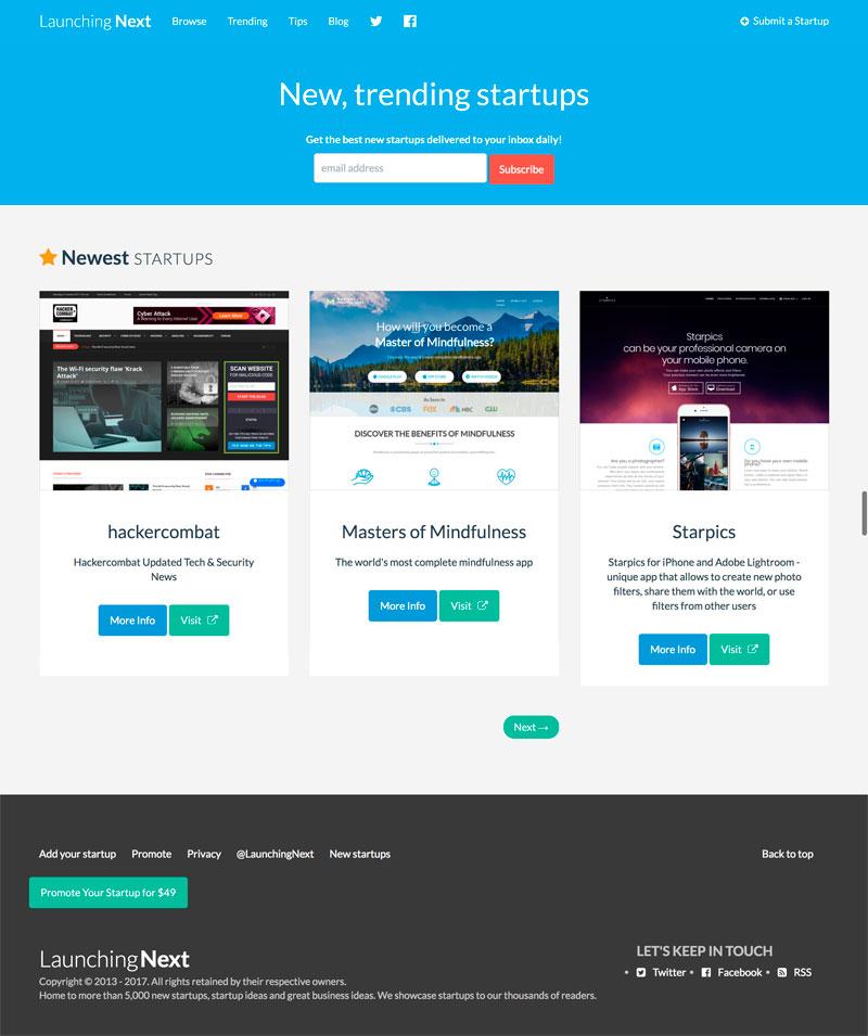 Launching Next Homepage